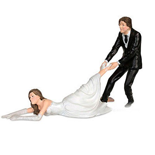 Reluctant Bride Cake Topper Groom Dragging Bride Marriage Funny Gag Gift Humor