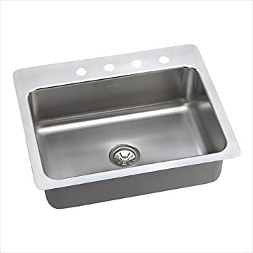 "Elkay DPSSR2722100 20 Gauge Stainless Steel 27"" x 22"" x 10"" Single Bowl Dual/Universal Mount Kitchen Sink"