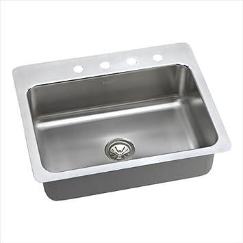 "Elkay DPSSR2722100 20 Gauge Stainless Steel 27"" x 22"" x 10"" Single Bowl Dual/Universal Mount Kitchen Sink"