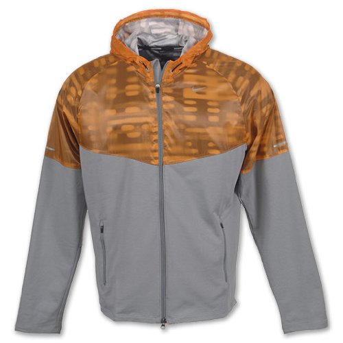 Nike Nike Men's Running Fanatic Hoodie Jacket-Light Gray/Orange-XL