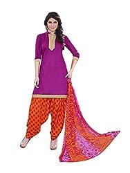 PS Enterprise Purple Cotton Printed Unstitched Dress Material With Dupatta - 11SDP11008