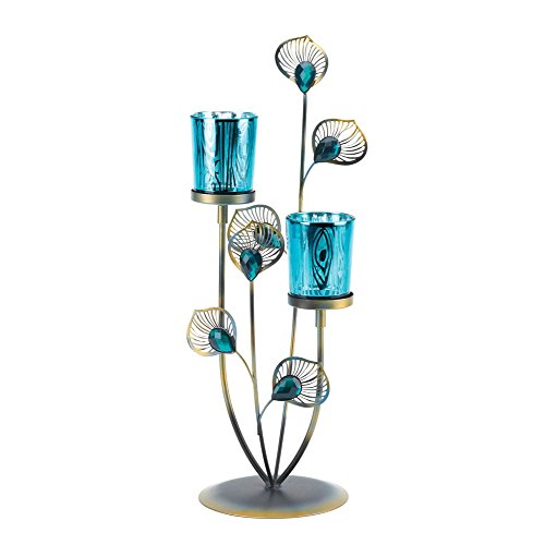 F.A. Decors Exotic Peacock Plume Candle Tea Light Holder Table Top