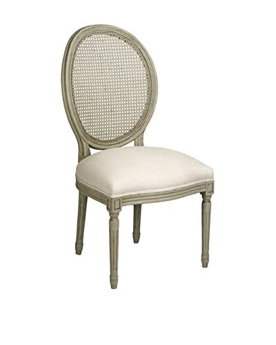 Zentique Medallion Side Chair with Cane Back, Natural/Olive Green