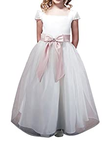 CCHAPPINESS Big Girls Floor Length Cap Sleeve Organza Pageant Communion Flower Girl Dresses White Child 10