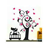 Creative Width Cats In Love 2 Wall Decal - (28x30 Inch, Multicolour )