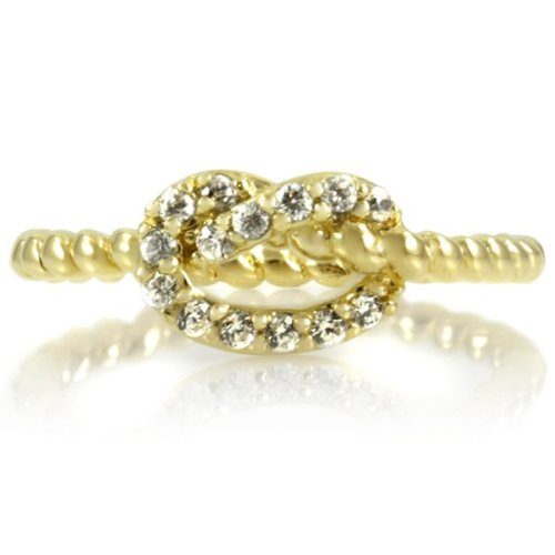 Amelia's CZ Love Knot Ring - Gold