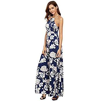 Floerns Women's Sleeveless Halter Neck Vintage Floral Print Maxi Dress
