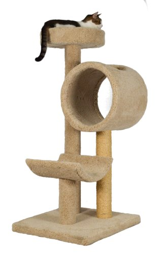 "Molly and Friends ""Tunnel of Fun"" Premium Handmade 3-Tier Cat Tree with Sisal, Model 243, Beige"
