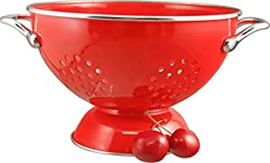 Calypso Basics 1.5 Quart powder coated  Colander, Red