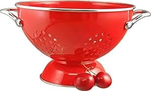 Calypso Basics 1.5 Quart powder coated  Colander, Red