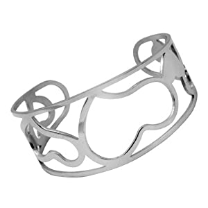 The Olivia Collection All Over Stainless Steel Ladies Wide Cuff Designer Bangle