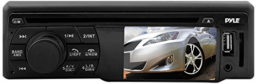 Pyle PLD34MUB - In Dash Head Unit Digital Receiver - Equipped with CD/DVD Player, Video Display, Built in Hands Free Bluetooth, Aux Input, USB for MP3 Files and AM/FM Tuner - Fits all Single Din Size