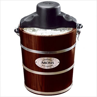 Aroma AIC-224W 4-Quart Wood-Barrel Ice-Cream Maker, Walnut