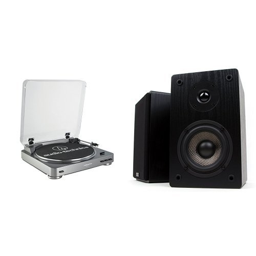 Audio Technica AT-LP60BK Fully Automatic Belt-Drive Stereo Turntable, Silver and Micca MB42 Bookshelf Speakers With 4-Inch Carbon Fiber Woofer and Silk Dome Tweeter (Black, Pair) Bundle (Turntable Pair compare prices)