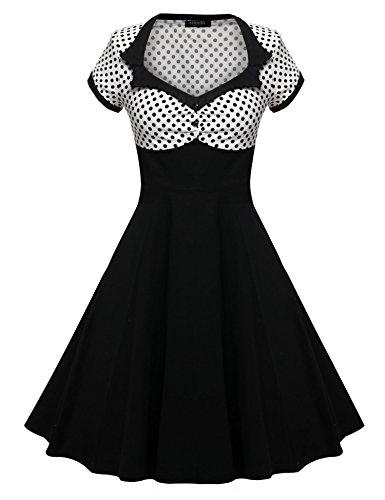 ACEVOG 50s 60s Vintage Cocktail Retro Swing Rockabilly Ball Gown Dress White XXL