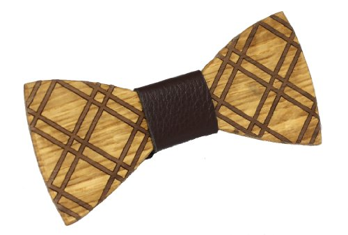 """Two Guys Bow Tie Co. Men'S Wood Bow Tie """"Guy"""" One Size Brown"""