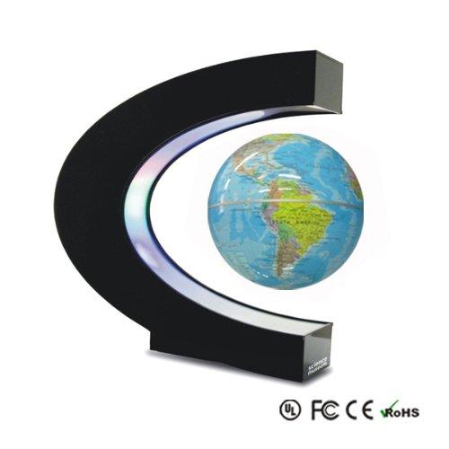 Schwebender Globus Weltkugel Erdball Erdkugel Schwebeglobus für Deko Schüler Schreibtisch politisch blau / farbig mit Beleuchtung und Design Basisstation bestellen