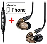 Shure SE535-V Earphones and CBL-M-+K Music Phone Cable with Remote + Mic for iPhone, iPod and iPad