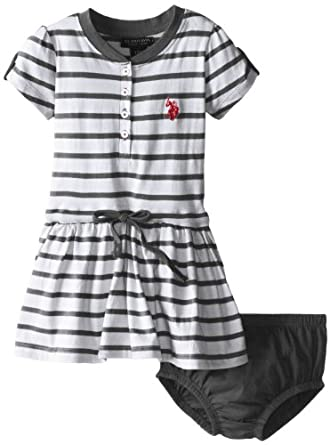U.S. Polo Assn. Baby-Girls Infant Striped Dress with Tabbed Short Sleeves, Black, 12 Months