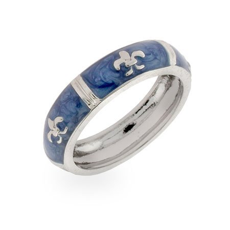 Designer Inspired Silver Fleur De Lis Blue Enamel Ring Size 10 (Sizes 5 6 7 8 9 10 Available)