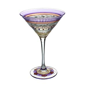 """Golden Hill Glassware/Barware - Mosaic Garland Martini Glass - Hand Painted and Made in USA - 6.75"""" Tall"""