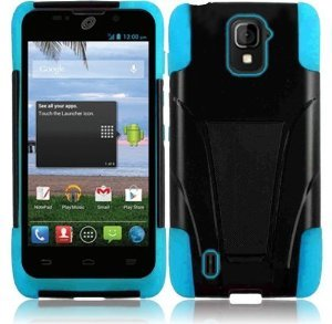 VMG 2-Item Combo Bundle for ZTE Majesty Z796C (Net10 Straight Talk) Premium Hybrid Hard Soft Protective Case Cover w/ Built-In Kickstand Hinge Armor Shield - Sky Blue + LCD Clear Screen Saver Protector