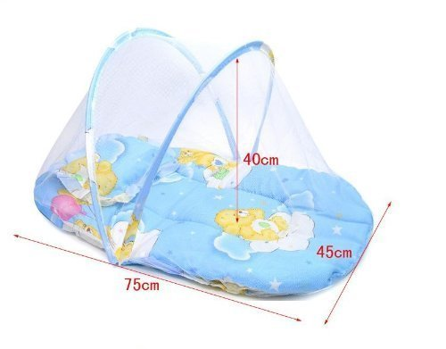 Nsstar Portable Foldable Baby Infant Sleeping Safety Mosquito Net Netting Crib Insect Cradle Bed Canopy Cushion Mattress Set (Blue)
