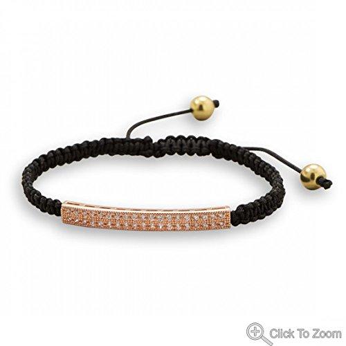 Adjustable Black Macrame Fashion Bracelet With Rose Tone Cubic Zirconia Bar