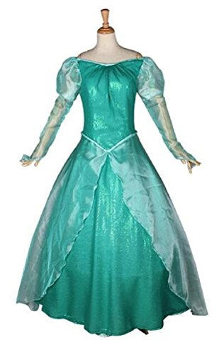 [Adult Women's Halloween Deluxe 1:1 Mermaid Ariel Costume Princess Dress (M)] (Ariel Dress For Adults)