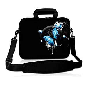 "Blue Butterfly 10"" Laptop Shoulder Bag Sleeve Carry Case For Samsung Galaxy Tab / iPad air,1,2,3,4,5, 10"" 10.1"" 10.2 inch Mini Laptop Netbook Case Tablet, Microsoft Surface RT 10.6"" Tablet PC,Dell Latitude 2110 10"" Laptop Intel Atom N470,Acer Aspire One 1"