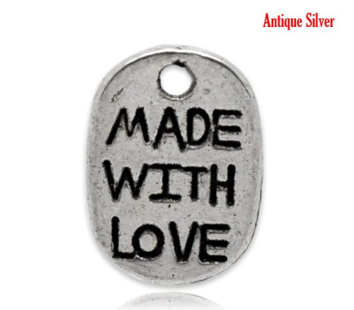 20 X SILVER TONE OVAL 'MADE WITH LOVE' CHARMS 11 X 8 MM