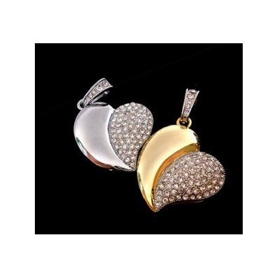 High Quality 16 GB Heart Shape Crystal Jewelry USB Flash Memory Drive Necklace (SILVER) by T &  J