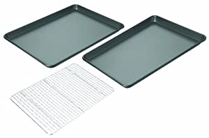 Chicago Metallic Non-Stick 3-Piece Value Pack with 2 Cookie/Jelly Roll Pans and Cooling Grid