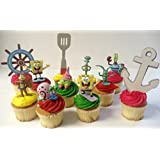 "Spongebob SquarePants 11 Piece Birthday Cupcake Topper Set Featuring 2"" to 3"" Cupcake Toppers of Squidward, Sandy Cheeks, Patrick Star, Mr. Krabs, Plankton, Gary and Other Decorative Themed Accessories"