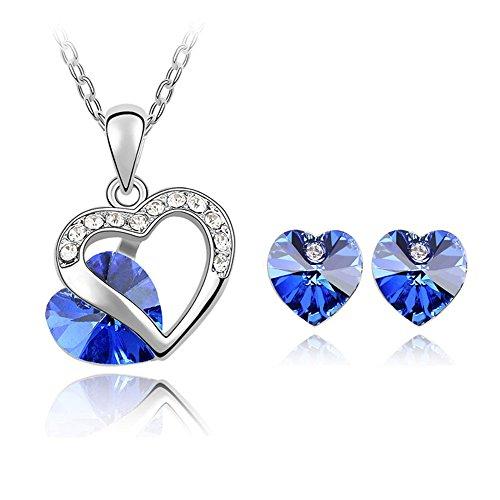 marenja cristal cadeau noel femme parure bijoux collier et boucles d oreilles pour femme coeur. Black Bedroom Furniture Sets. Home Design Ideas