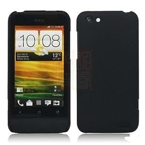 PES Rubberised Matte Hard Case Back Case Cover For HTC One V - Black
