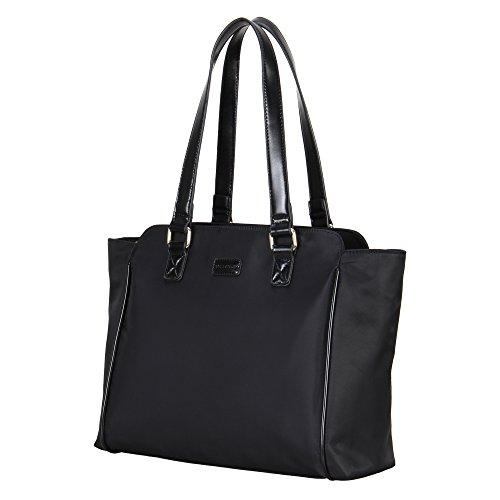 Veevan Nylon Tote Bags con manici in pelle donna Borse (Nero)