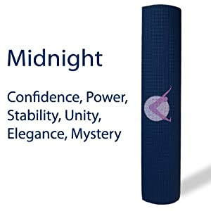 "Aurorae Yoga / Fitness Mats - 1/4"" (6mm) Ultra Thick, 72"" Long with Focal Rising Moon Icon and Illuminating Colors. SGS approved Free from Phthalates, Silicone and Latex."