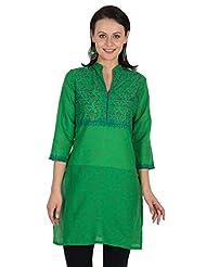 Sohniye Green Floral Print Cotton Kurta - B00OGLTMG2