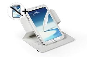 ForeFront Cases® - Étui en cuir synthétique avec support pour Samsung Galaxy Note 8.0 - mise en veille automatique par fermeture magnétique - stylet et protection écran inclus - Blanc