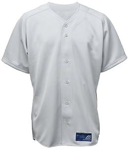 Mizuno Men's Full Button Short Sleeve Baseball Jersey, Grey, XX-Small