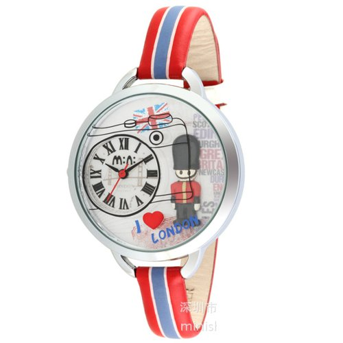 Ufingo-Nice Quartz Students Watch For Ladies/Women/Girls-Red Leather Strap I Love London Theme Dial