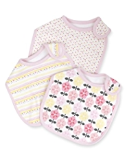 3 Pack Pure Cotton Floral & Spotted Bibs