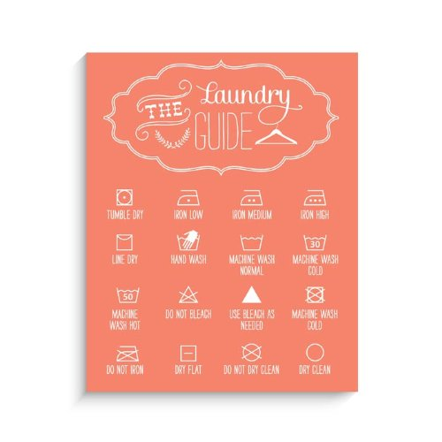 "Lucy Darling Laundry Guide Print Wall Decor, Orange, 11"" x 14"""
