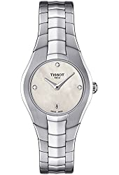 Tissot T-Round White Diamond Dial Stainless Steel Ladies Watch T0960091111600
