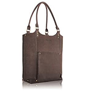 "Solo Premium Leather 16"" Laptop Bucket Tote, Espresso, VTA802-3"