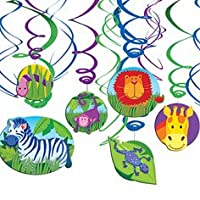 Jungle Animals Swirl Decorations 12 Pieces Party Value Pack Great for Safari by Amscan