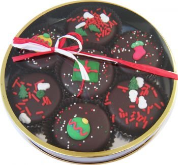 Christmas Decorated Dark Chocolate Oreo Cookie Tin -7 Oreos
