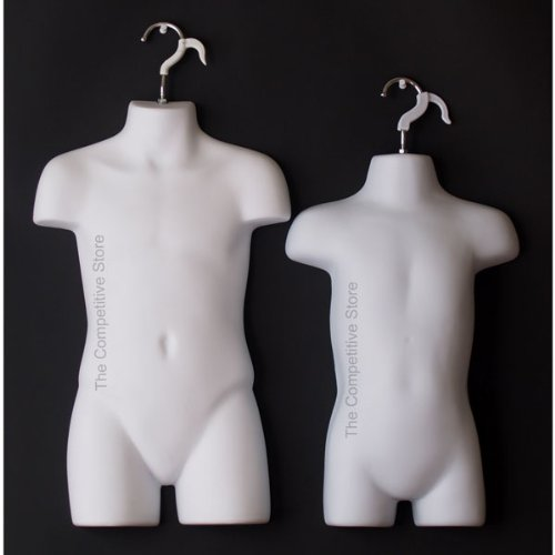 Toddler & Child White Mannequin Forms Set - Use With Boys & Girls Clothing 18mo-7 Kid sizes