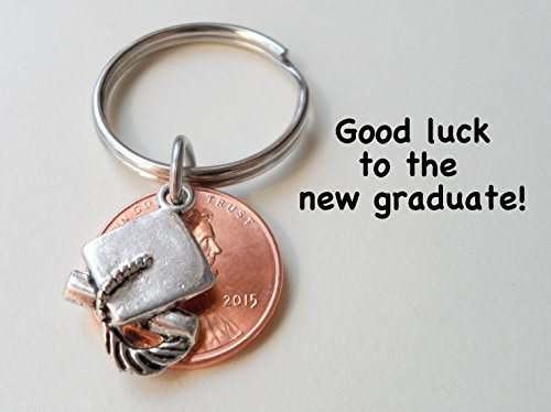 Cap and Diploma Charm Layered Over 2015 Penny Keychain - Good Luck to the New Graduate; Hand Made; Graduation Gift
